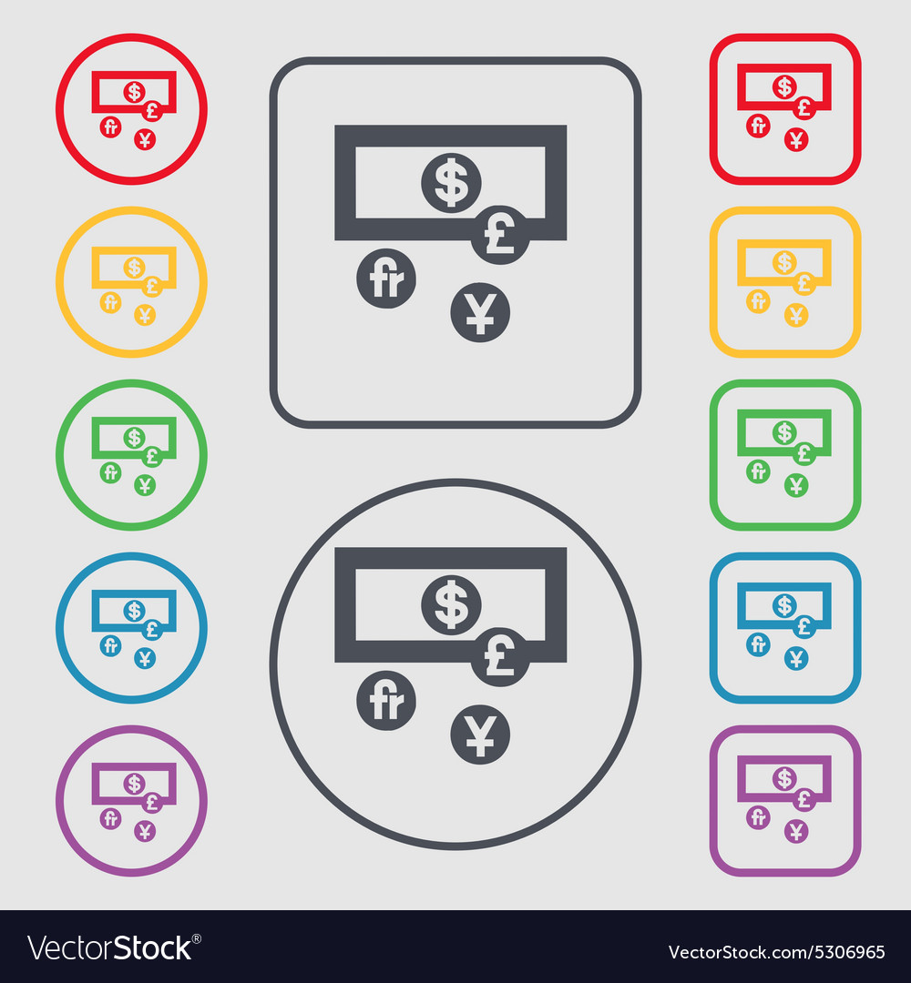 Currencies Of The World Icon Sign Symbol On The Vector Image