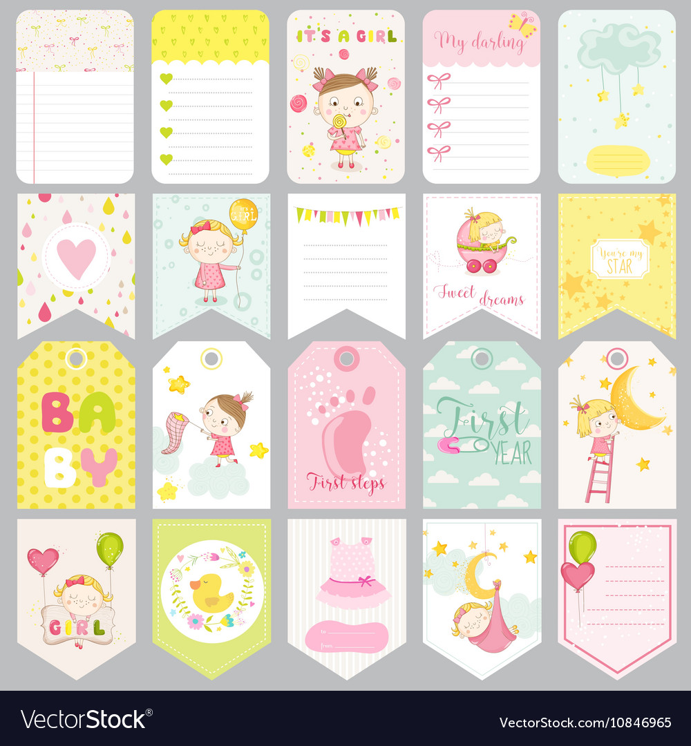 cute baby girl tags baby banners scrapbook labels vector image