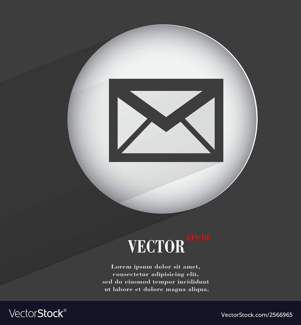 Envelope Flat modern web button with long shadow