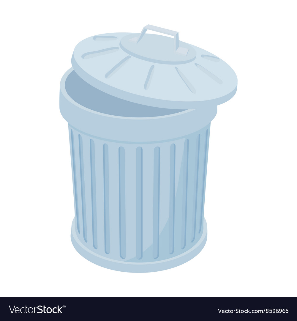 Grey Trash Can Icon Cartoon Style Royalty Free Vector Image
