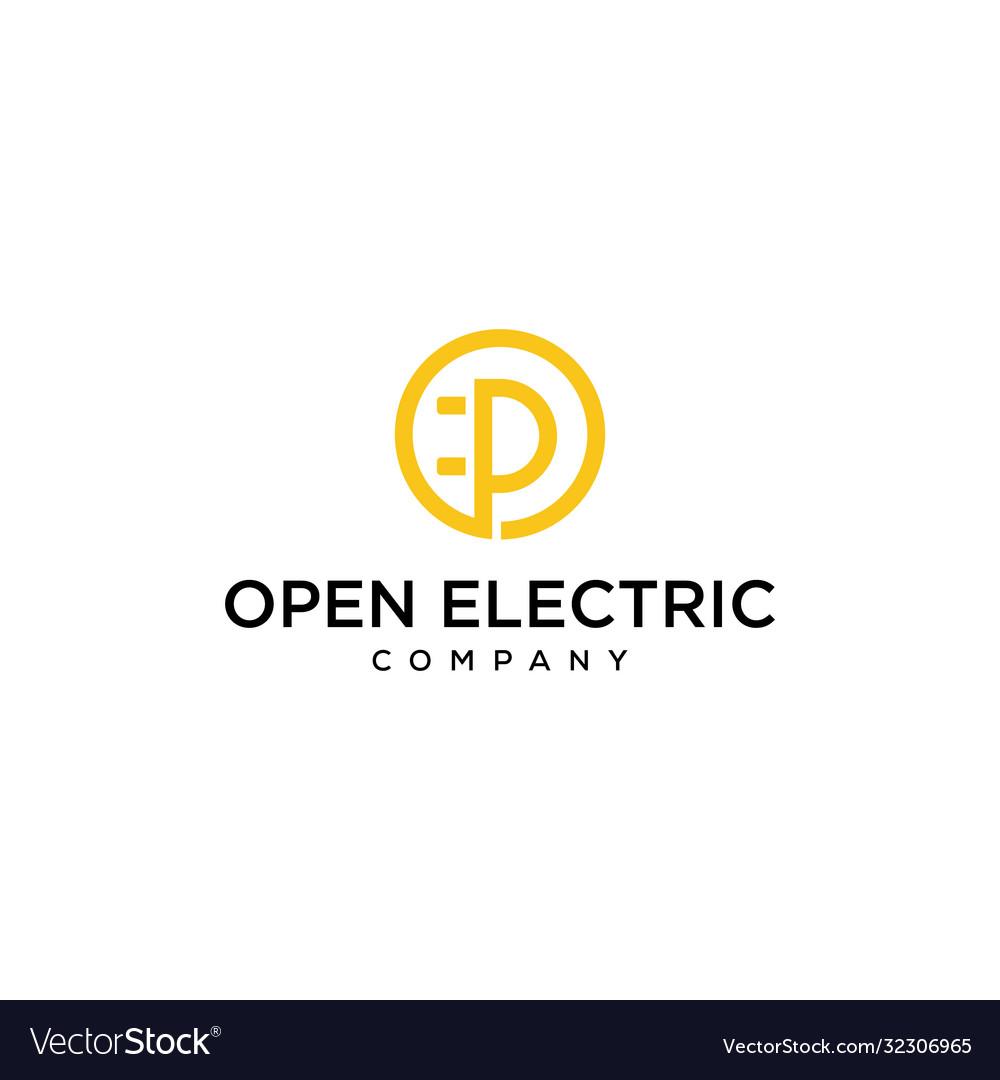 Letter p inside like an electric socket