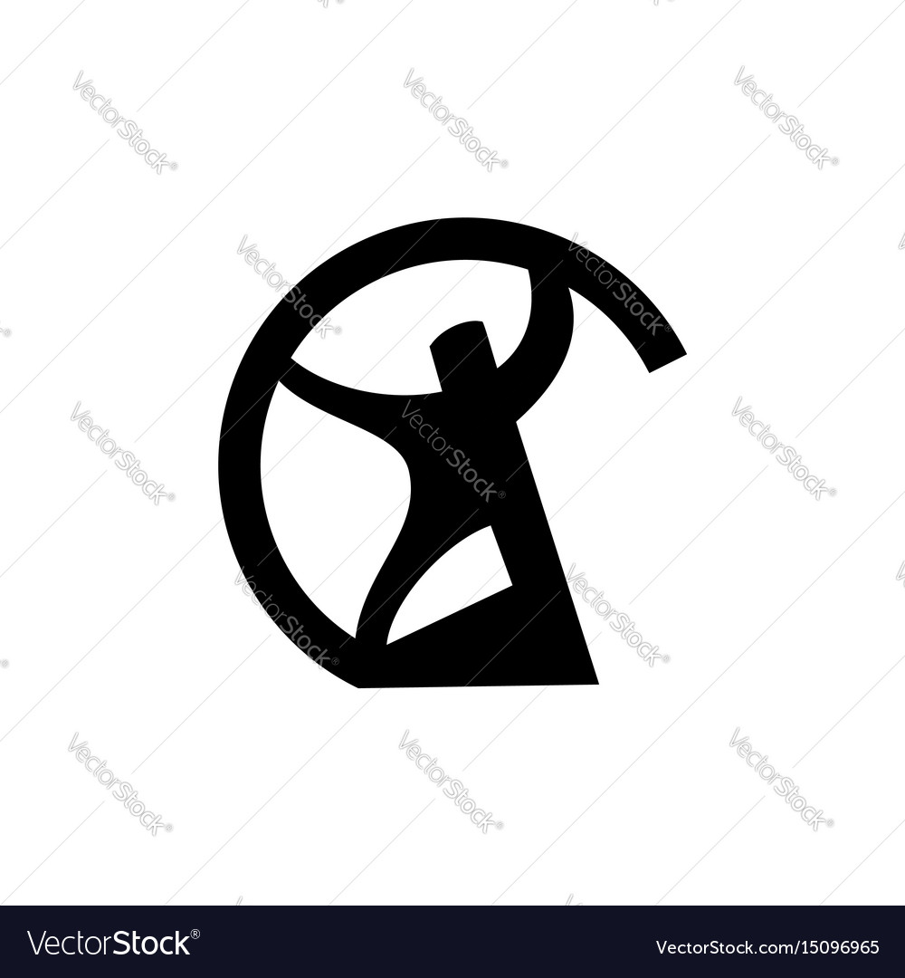 Man bends pipee mblem male abstract logo sign of vector image