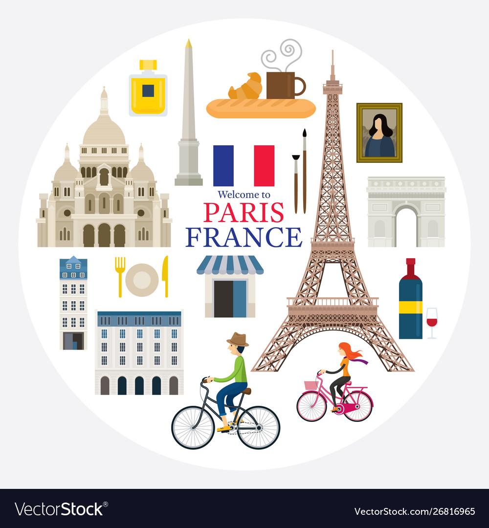 Paris france landmarks and travel label