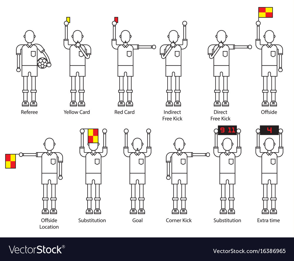 Referee football signals icon set vector image
