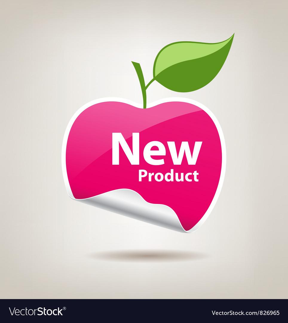 Sticker pink apple price tag