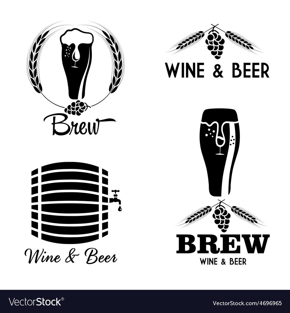 Wine and beer vintage labels set