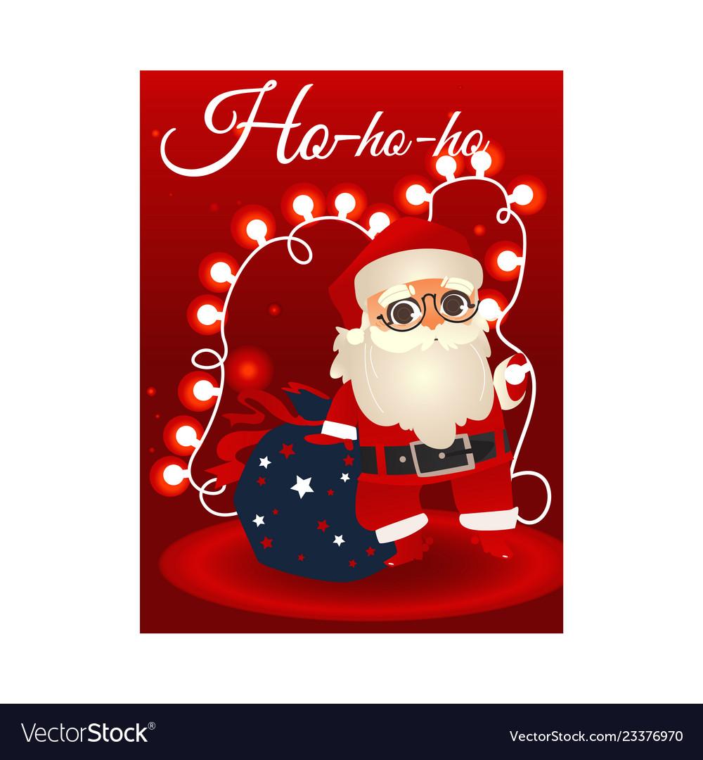 Cartoon santa claus with present boxes bag