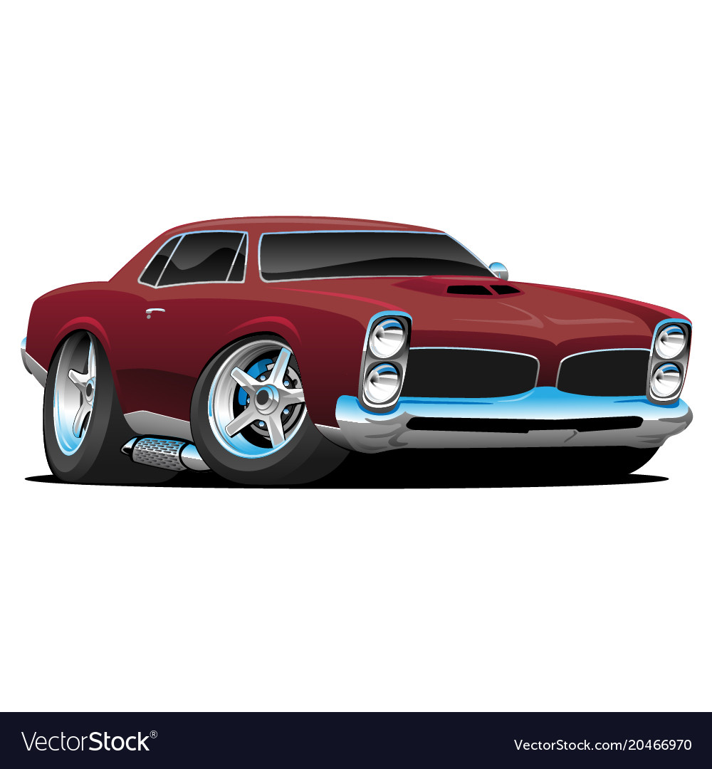 Classic American Muscle Car Cartoon Vector Image On Vectorstock