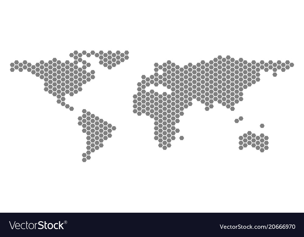 Grey hexagon world map royalty free vector image grey hexagon world map vector image gumiabroncs Images