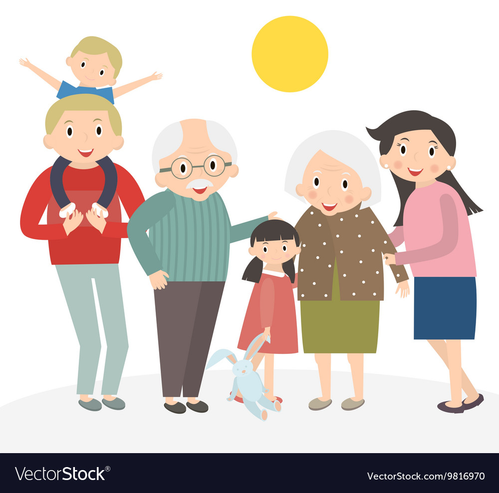 Happy family portrait Family isolated on white vector image