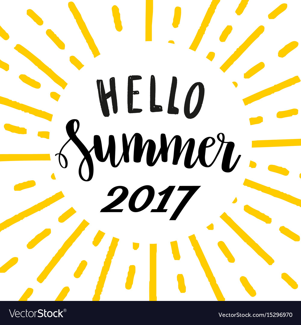 Hello summer 2017 bright lettering template