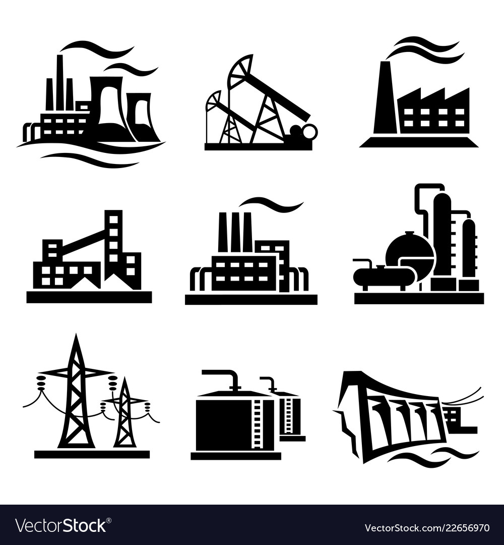 Icons collection of different power plants and
