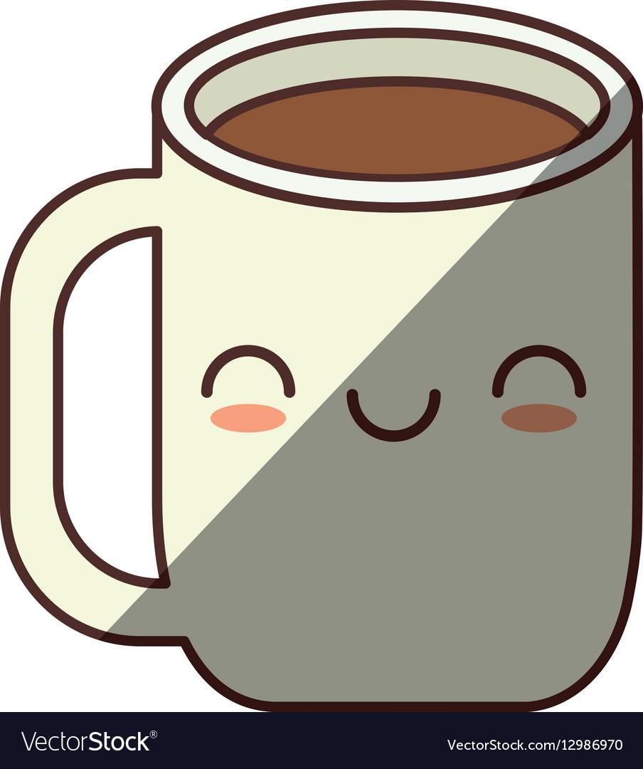 Kawaii mug tea chocolate handle shadow