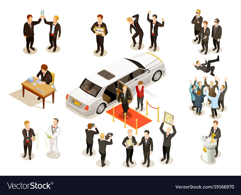 Music award ceremony isometric icons collection vector image