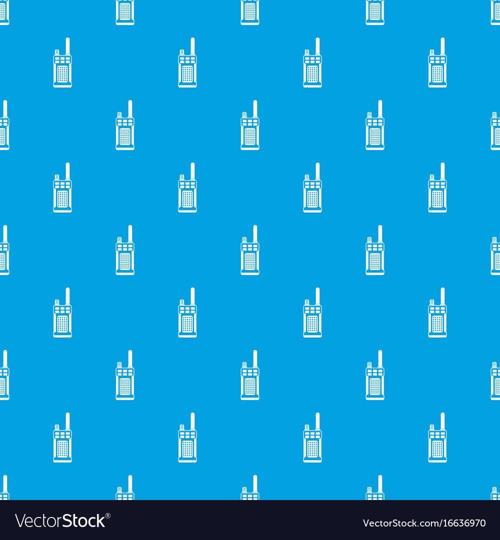 Portable handheld radio pattern seamless blue vector image