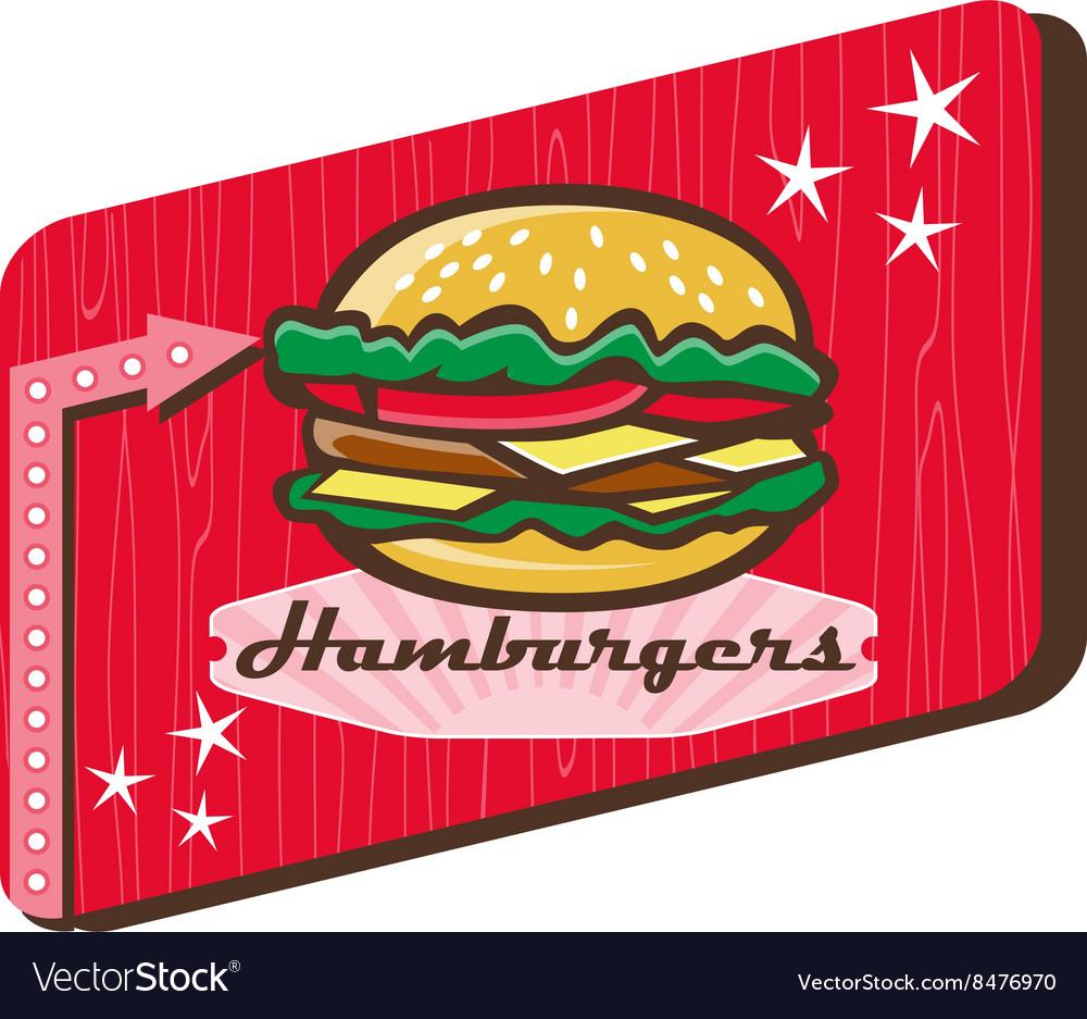 Retro 1950s Diner Hamburger Sign