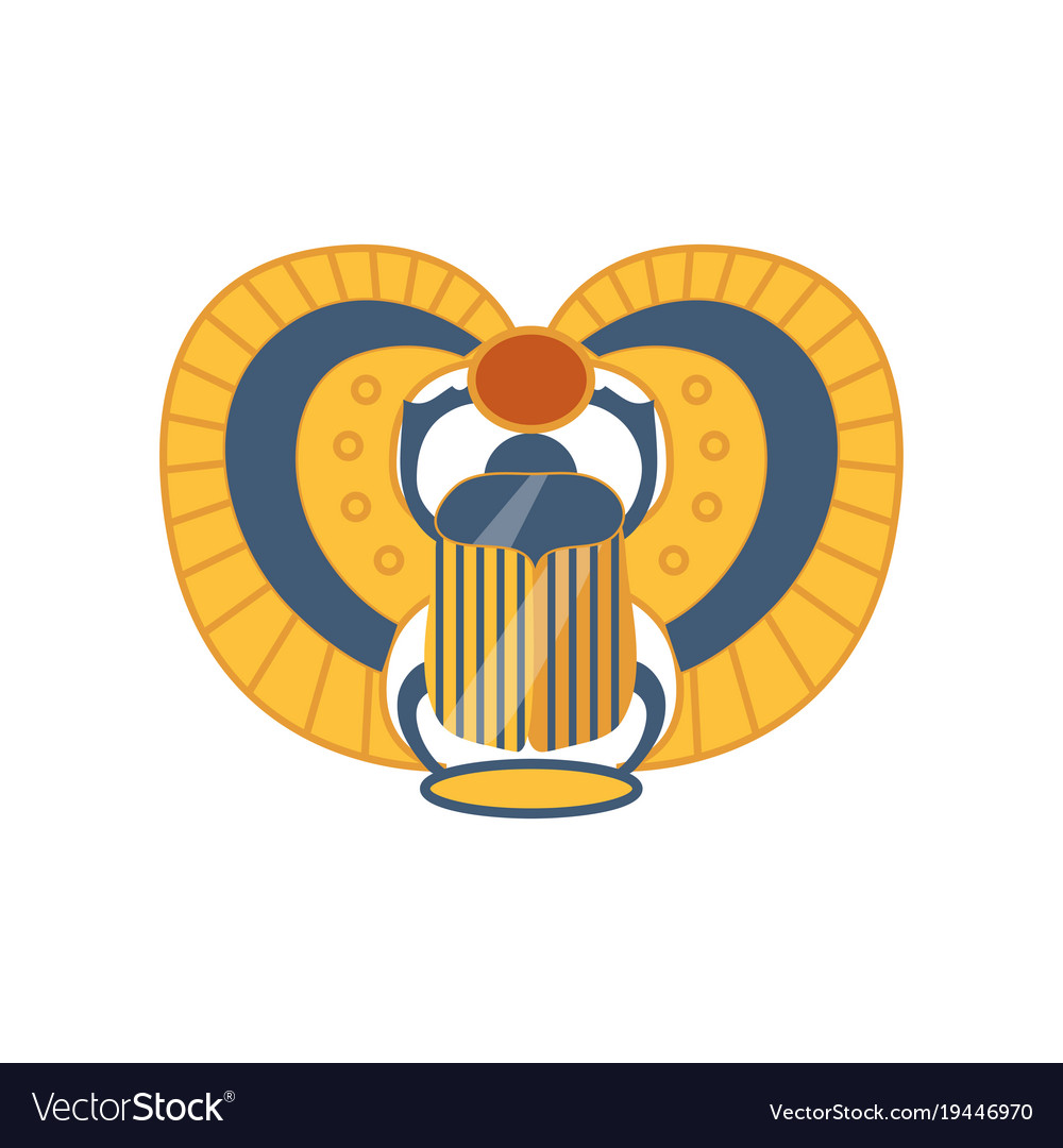 Scarab Egyptian Sacred Bug Symbol Of The Sun Vector Image