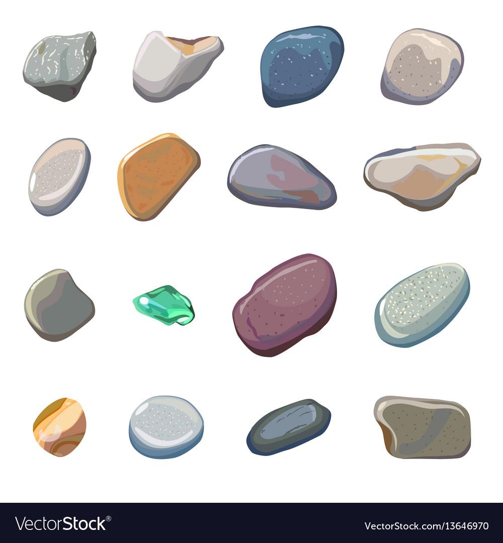 Sea Stones Isolated On White Background
