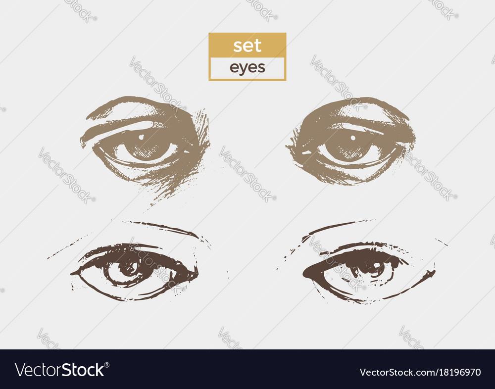 Set eyes vector image