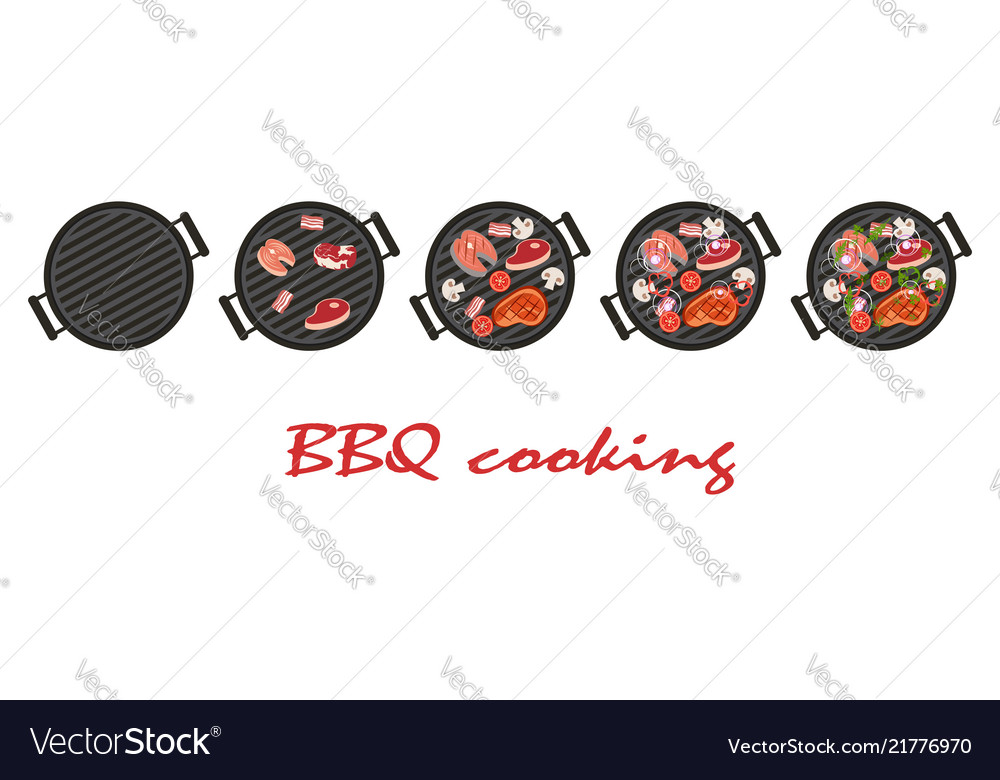 Stages of cooking bbq