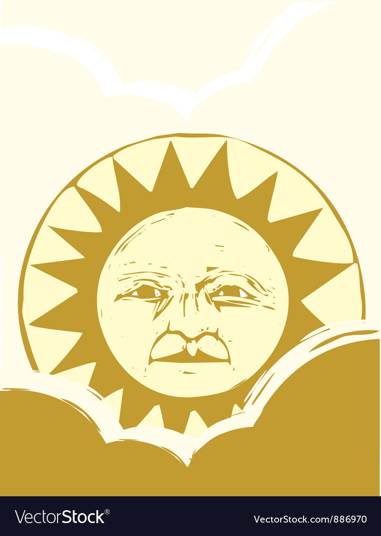 Sun Face and Clouds