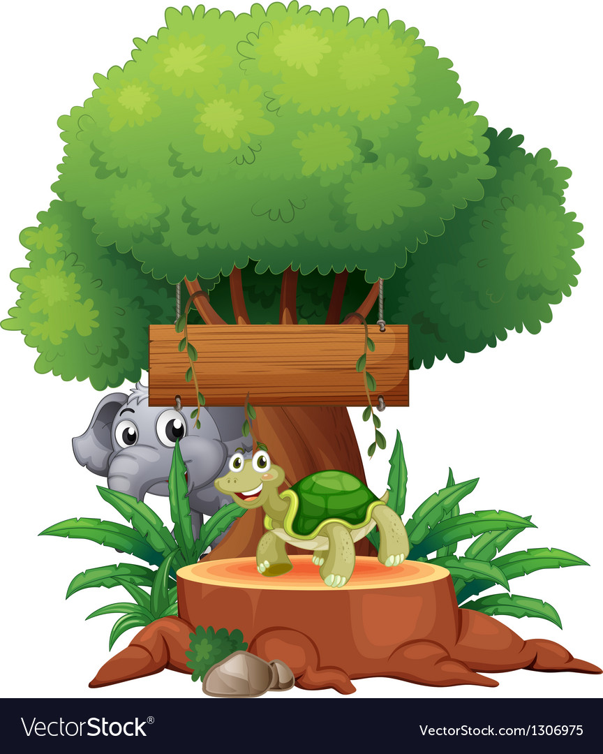 A turtle and an elephant under the big tree with a