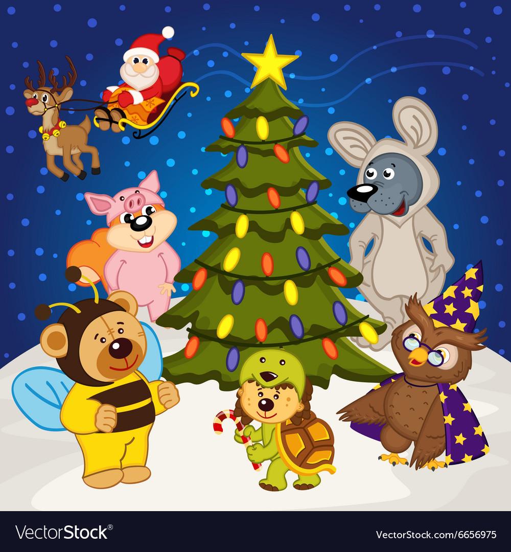 Animal around Christmas tree vector image