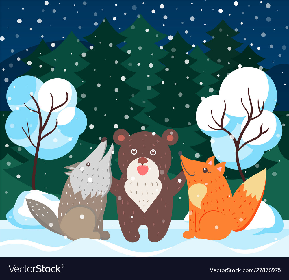 Animals like bear wolf and fox in winter forest