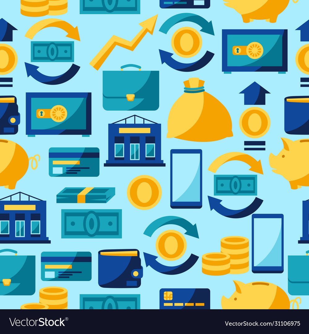 Banking seamless pattern with money icons