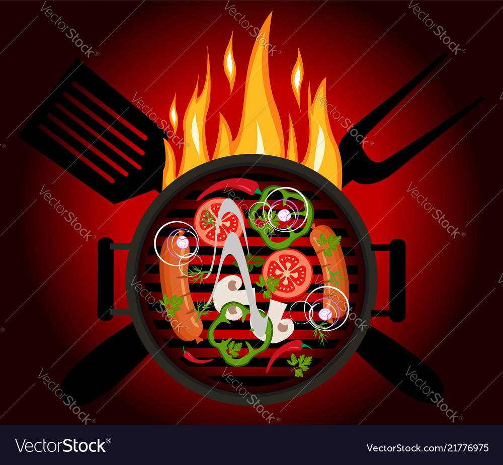 Bbq logo on a red background