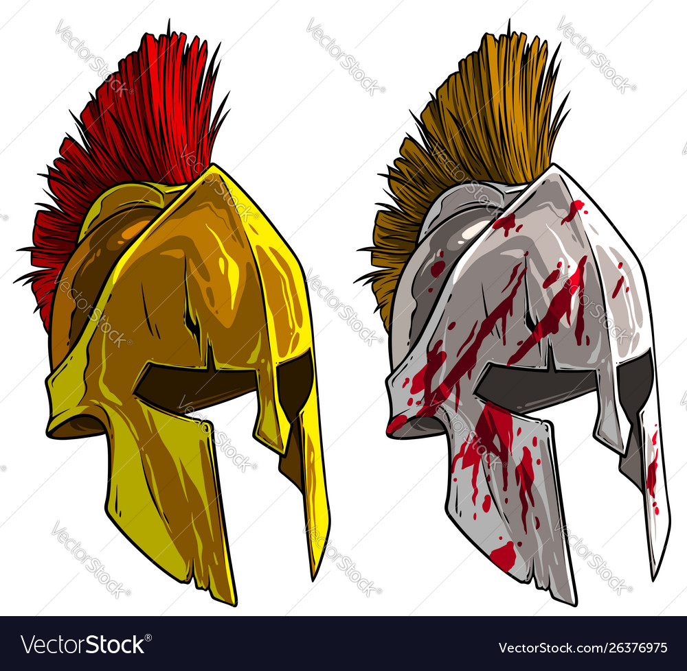 Cartoon bronze spartan or greek warrior helmet