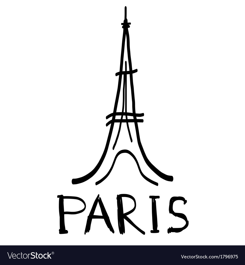 Eiffel Tower icon in sketch style