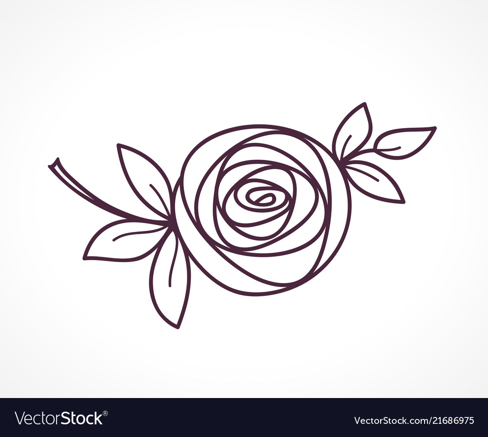 Rose stylized flower symbol outline icon