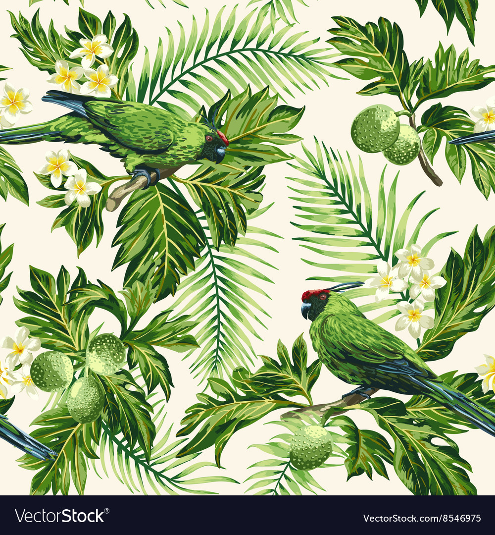 Seamless exotic tropical pattern with leaves