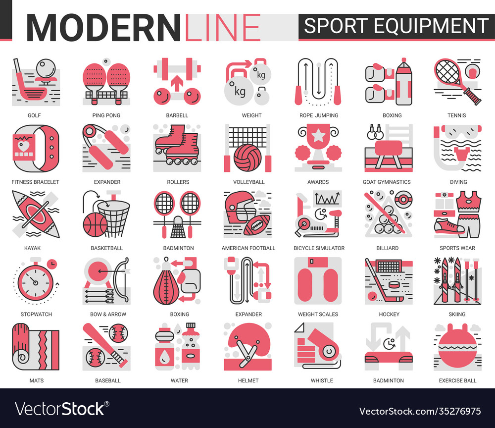 Sport fitness equipment complex red black flat