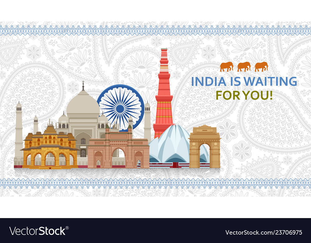 Travel in india concept indian most famous sights