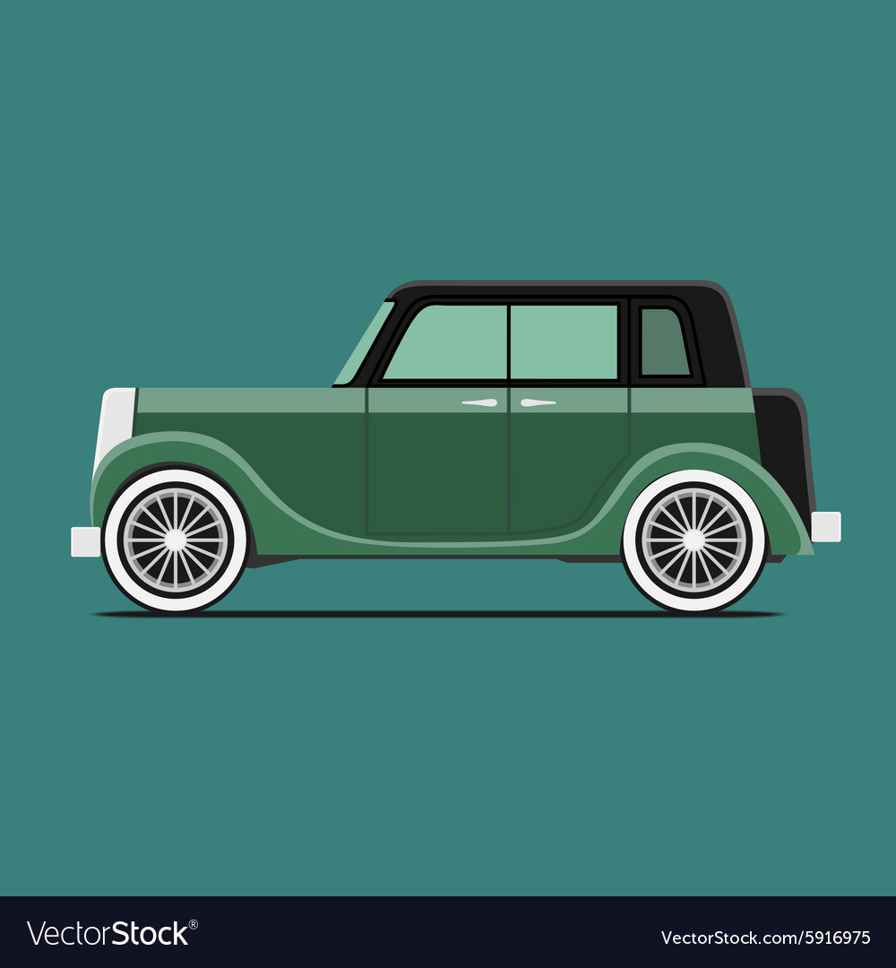 Vintage car Isolated on green