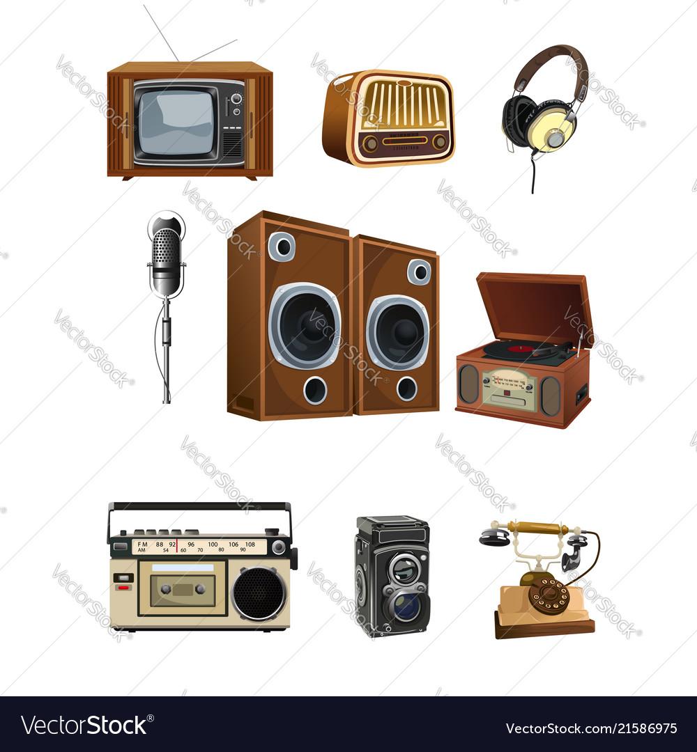 Vintage media stuff icons