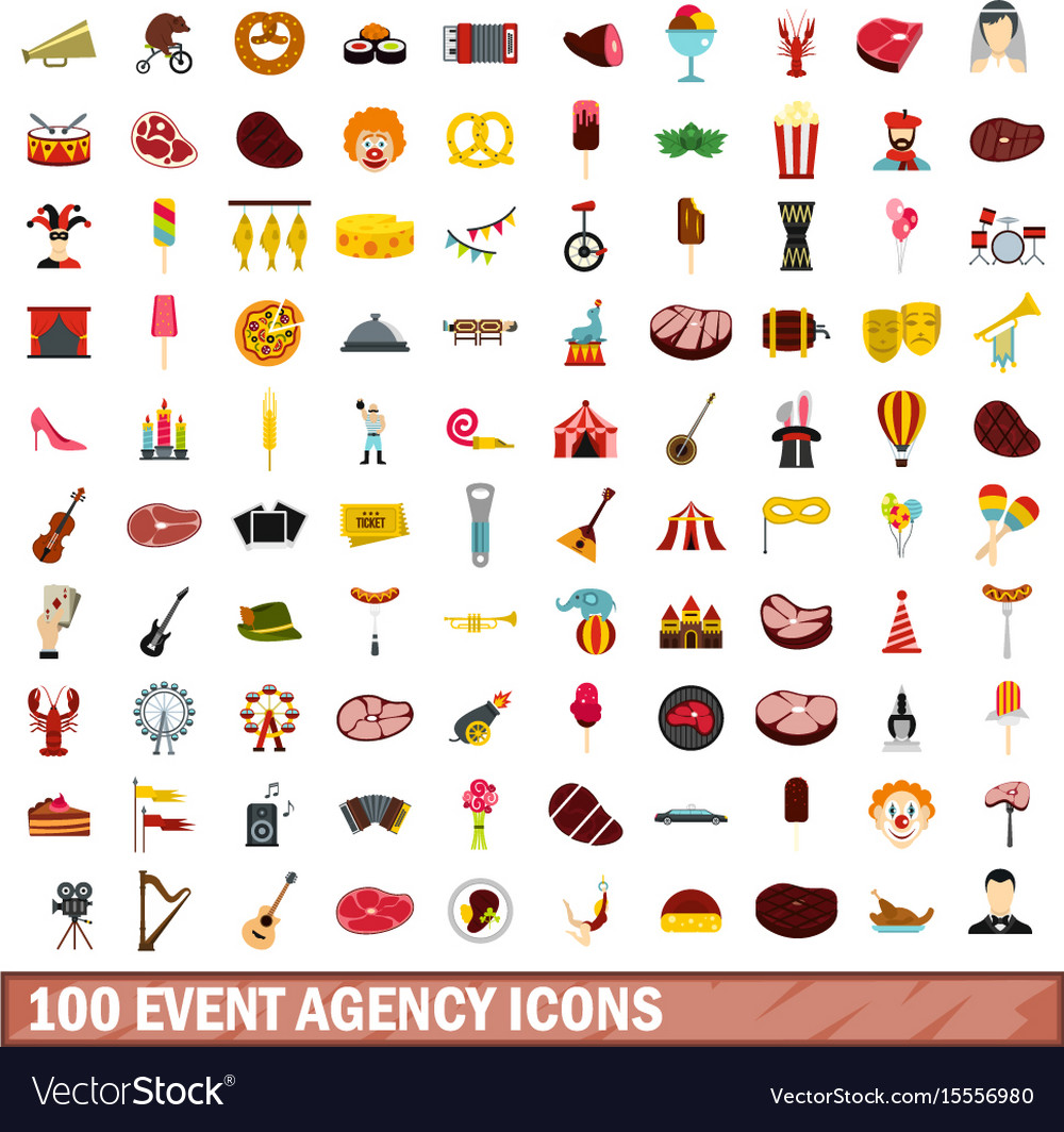 100 event agency icons set flat style vector image
