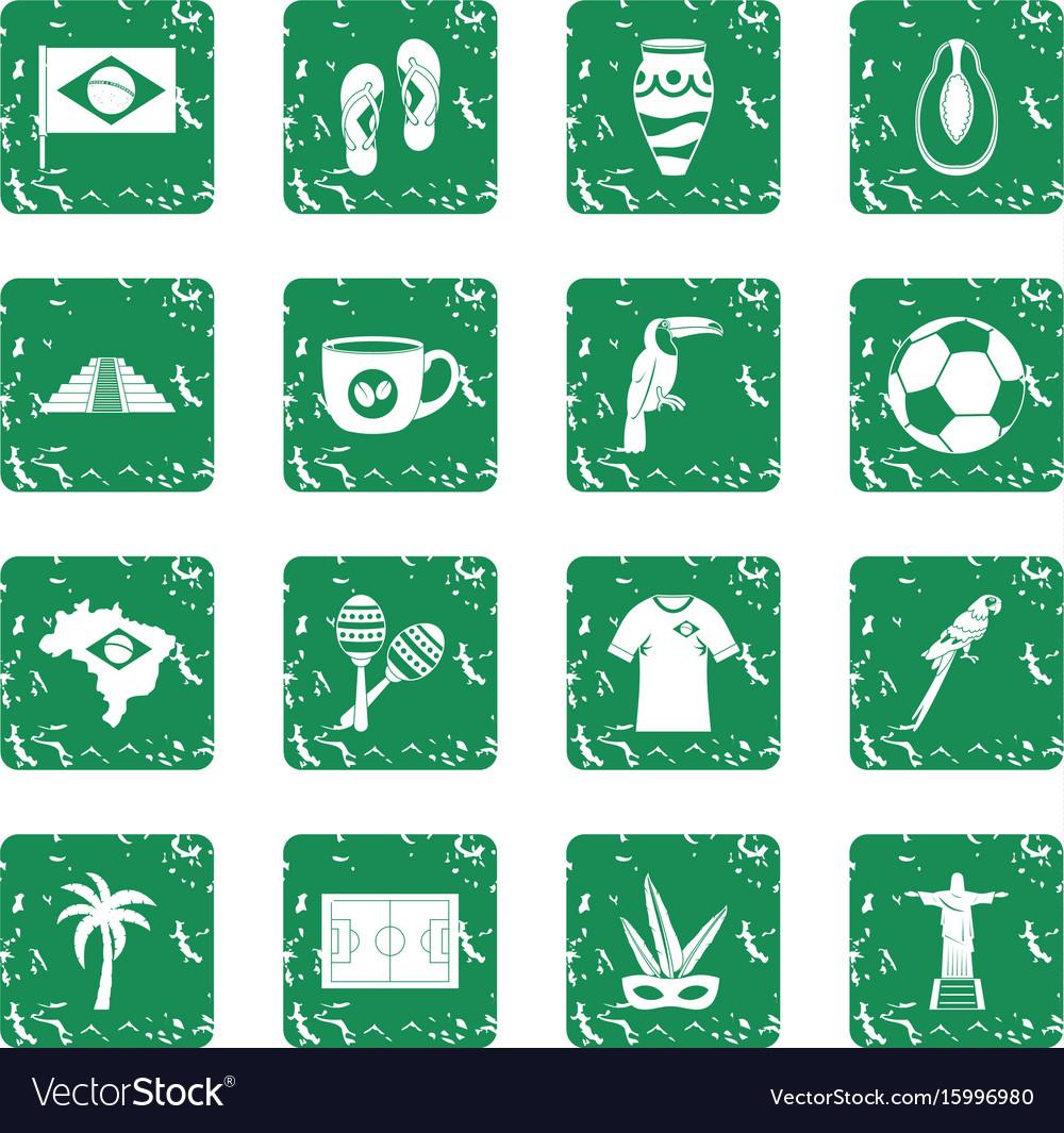 Brazil travel symbols icons set grunge