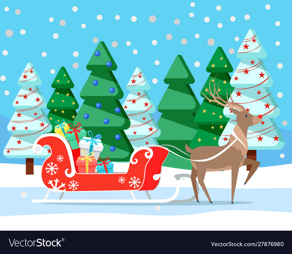 Christmas and winter holidays deer with presents