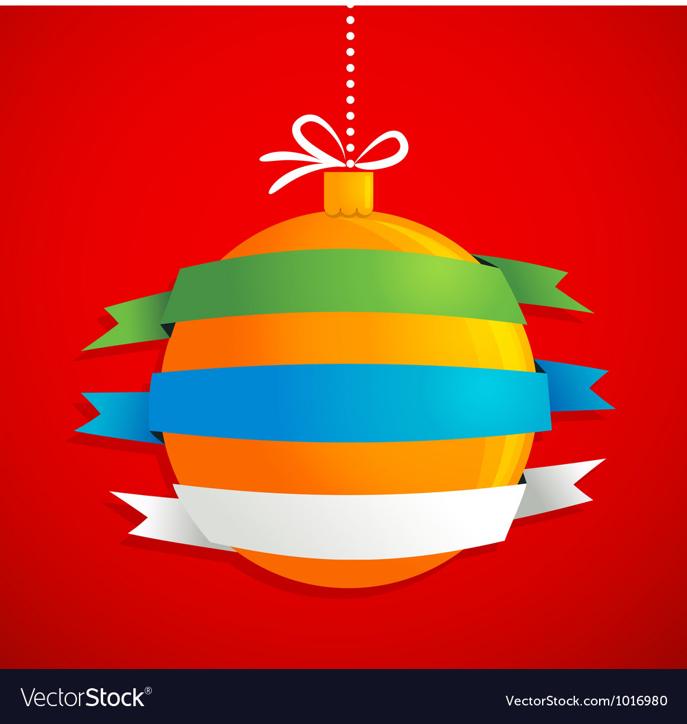 Christmas ball with ribbons and text space
