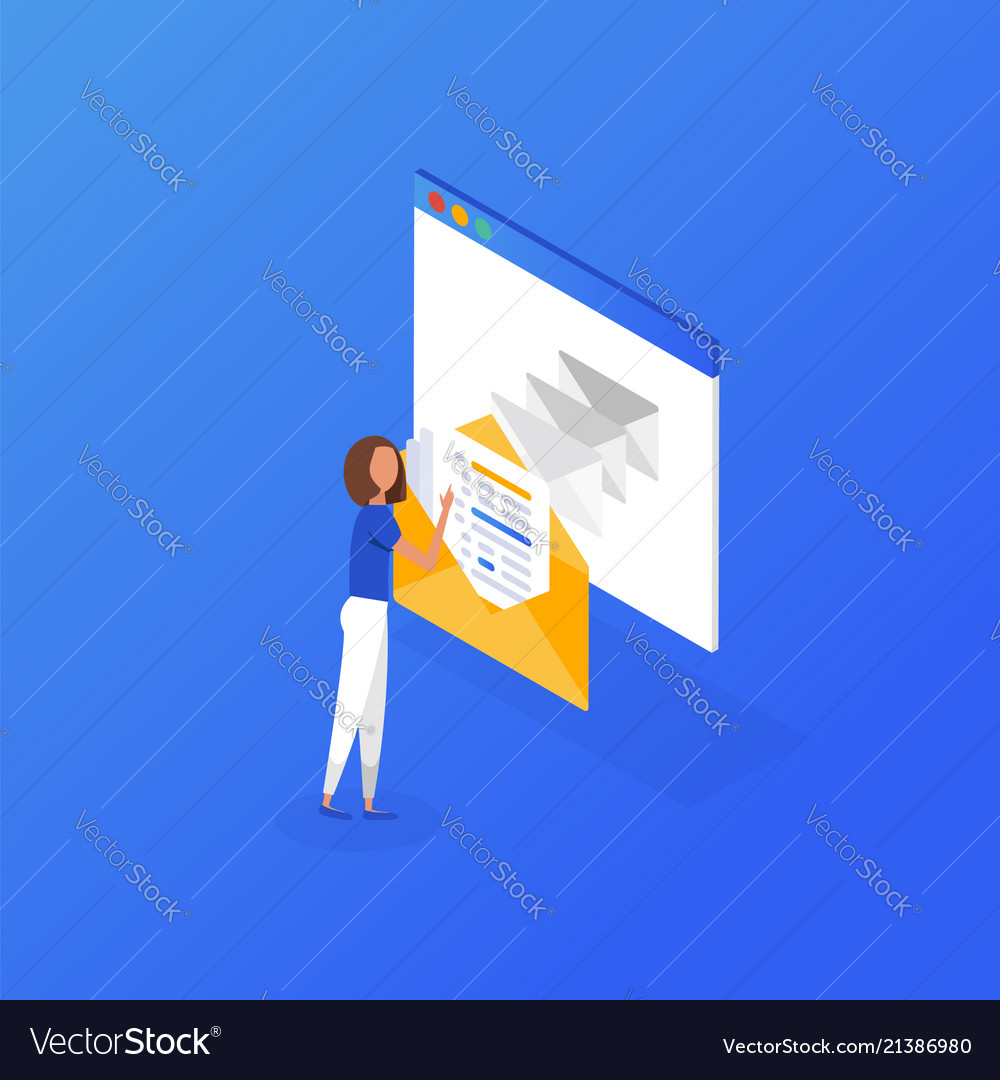Email Icon Isometric Website Page Template Vector Image