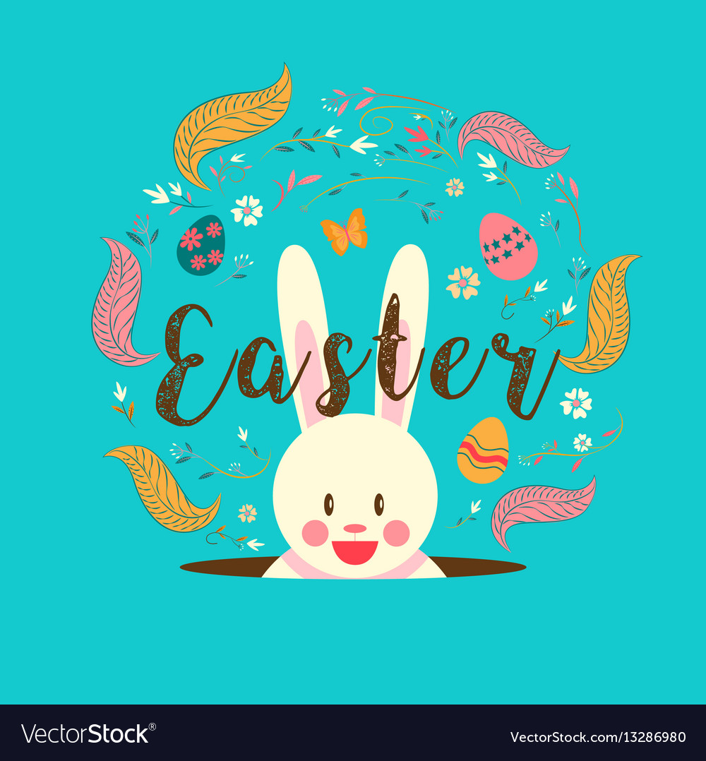 Happy easter typography bunny egg spring