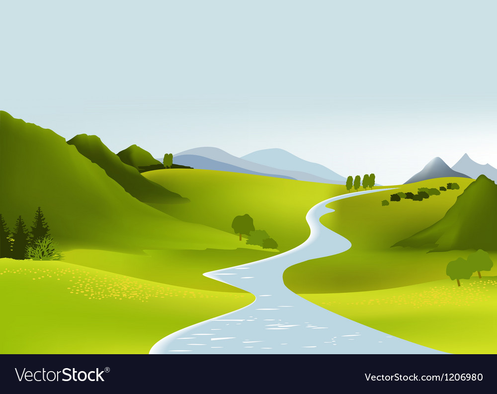 Mountain Landscape With River Vector Art Download Meadow