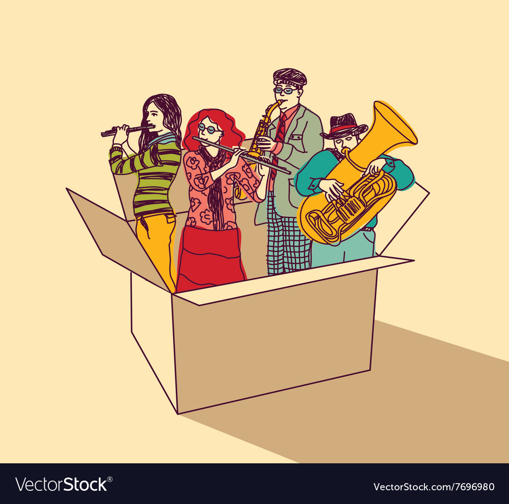 Music and musicians people group in box color