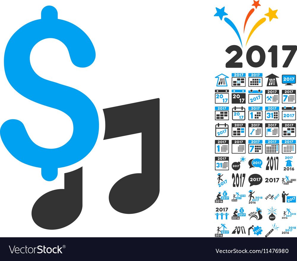 Music Price Icon With 2017 Year Bonus Pictograms vector image