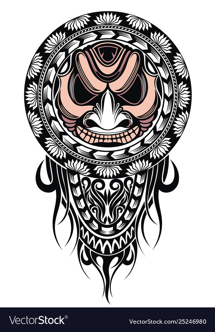 Polynesian tattoo design mask