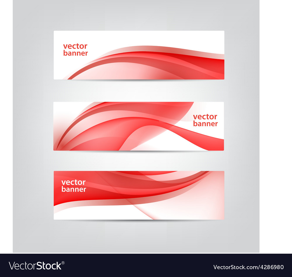 Set of wavy red banners