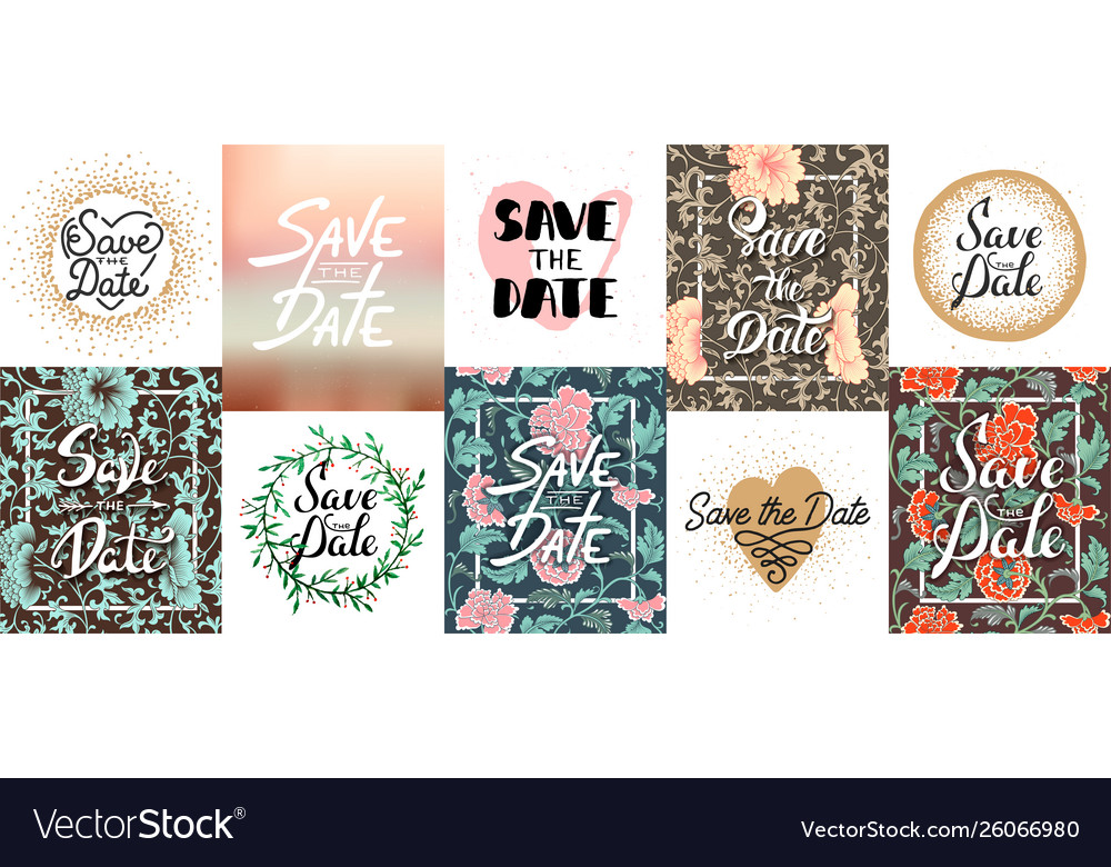 Set save date lettering posters greeting